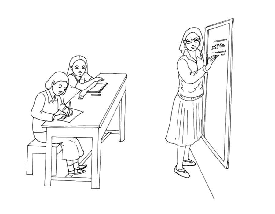 Раскраски учитель, Раскраска школа Учитель у доски в школе ...
