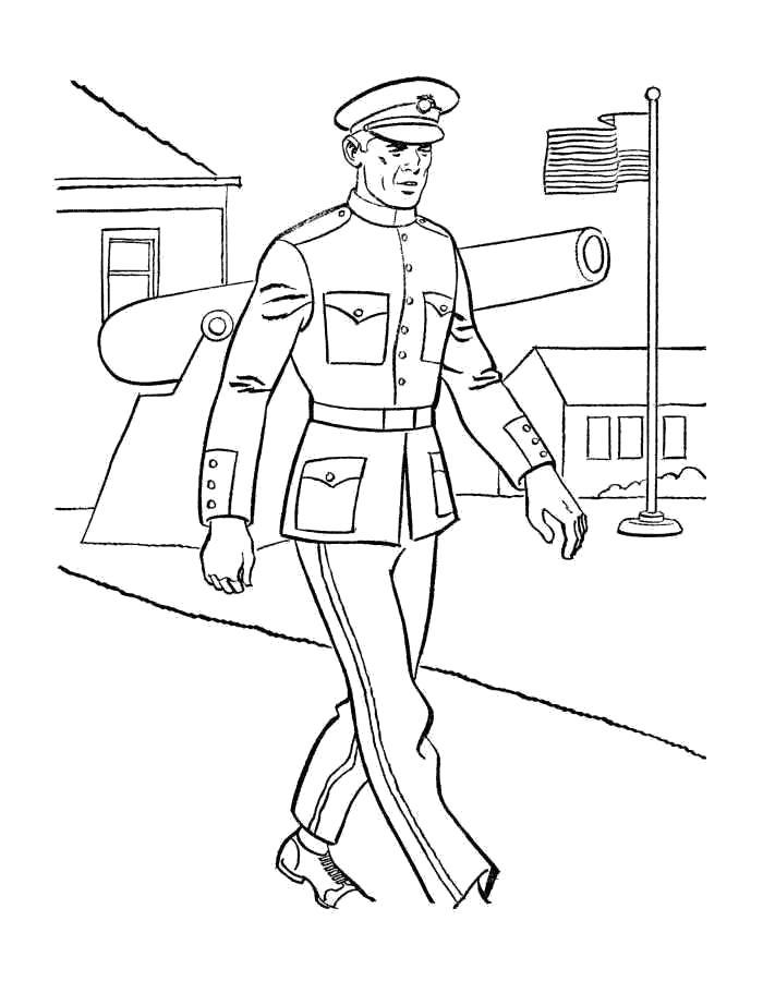 Раскраска Офицер. Скачать Солдат.  Распечатать Солдат