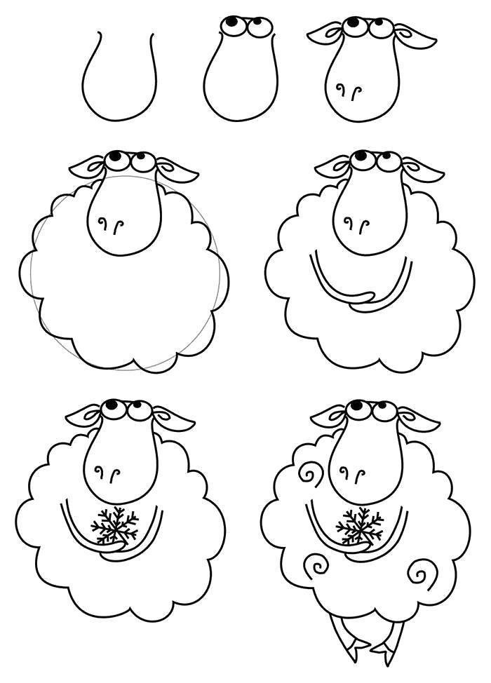Раскраска Как нарисовать барашка схема. Скачать Как нарисовать.  Распечатать Как нарисовать