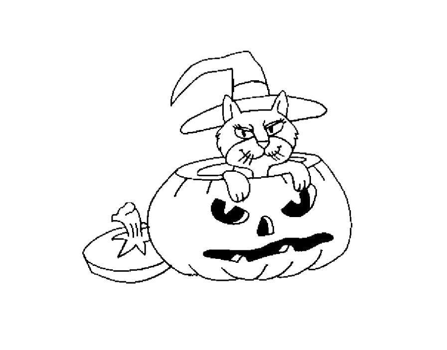 Раскраска  на тему хэллоуин. Скачать тыква на хэллоуин.  Распечатать Хэллоуин