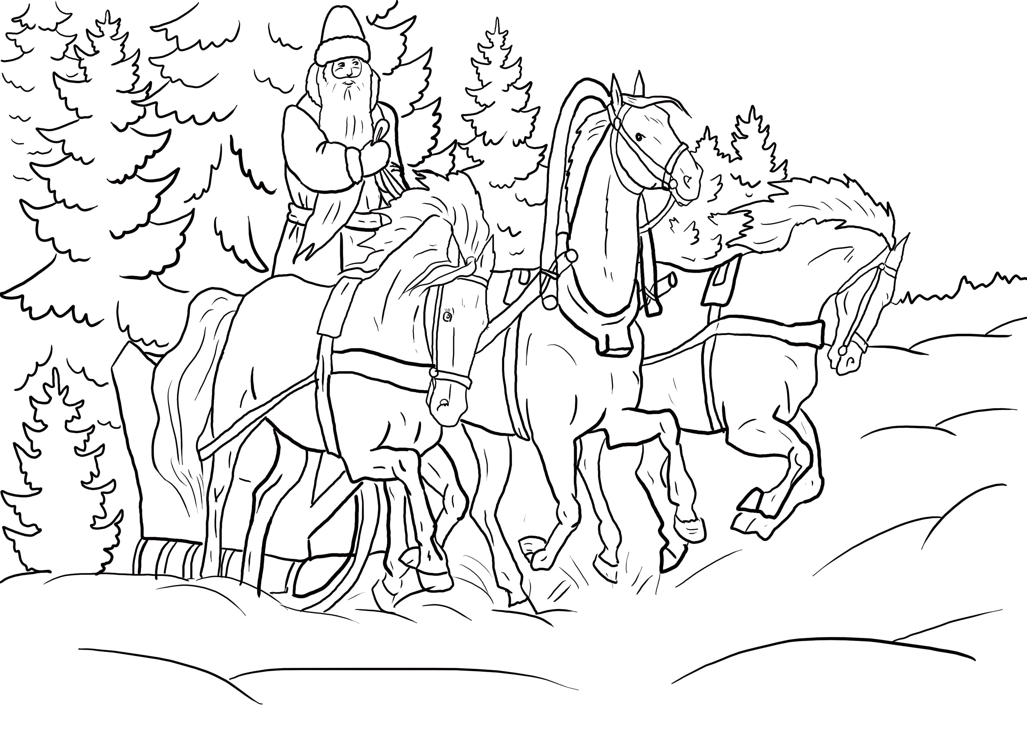Раскраска дед мороз едет на санях по лесу. Скачать новогодние.  Распечатать новогодние
