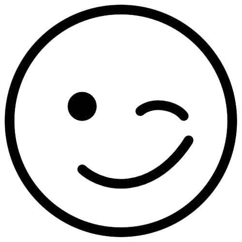 Раскраска  смайлик улыбка с подмигиванием. Скачать Смайл.  Распечатать Смайл