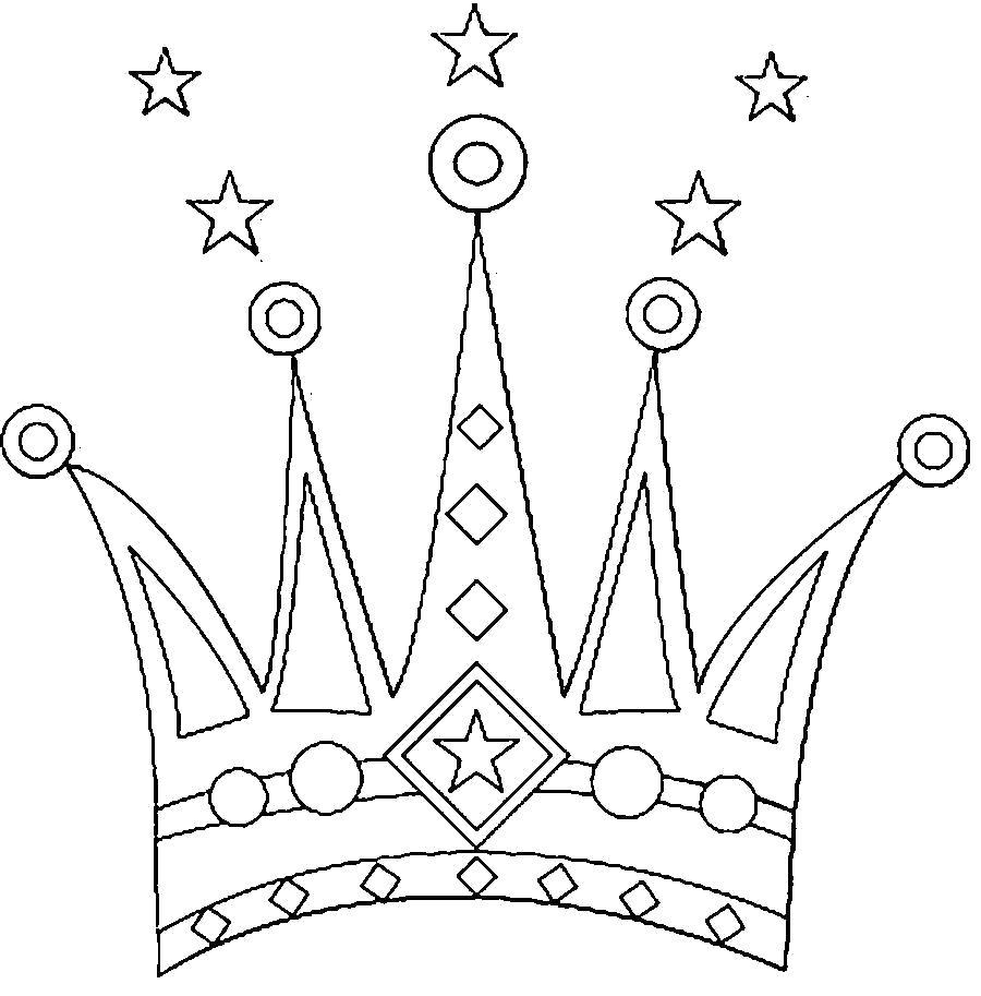 Раскраска  Корона  очень красивая корона, корона шаблон для детей. Скачать Шаблон.  Распечатать Шаблон