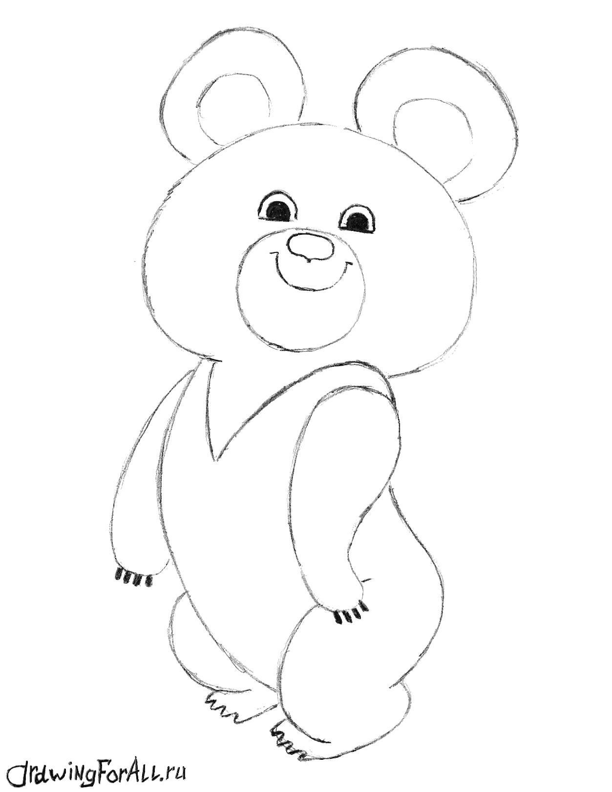 Раскраска как нарисовать олимпийского медвежонка. Скачать Как нарисовать.  Распечатать Как нарисовать