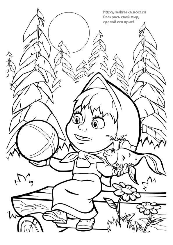 Раскраска  из мультфильма Маша и Медведь / Золотая рыбка. Скачать медведь.  Распечатать медведь