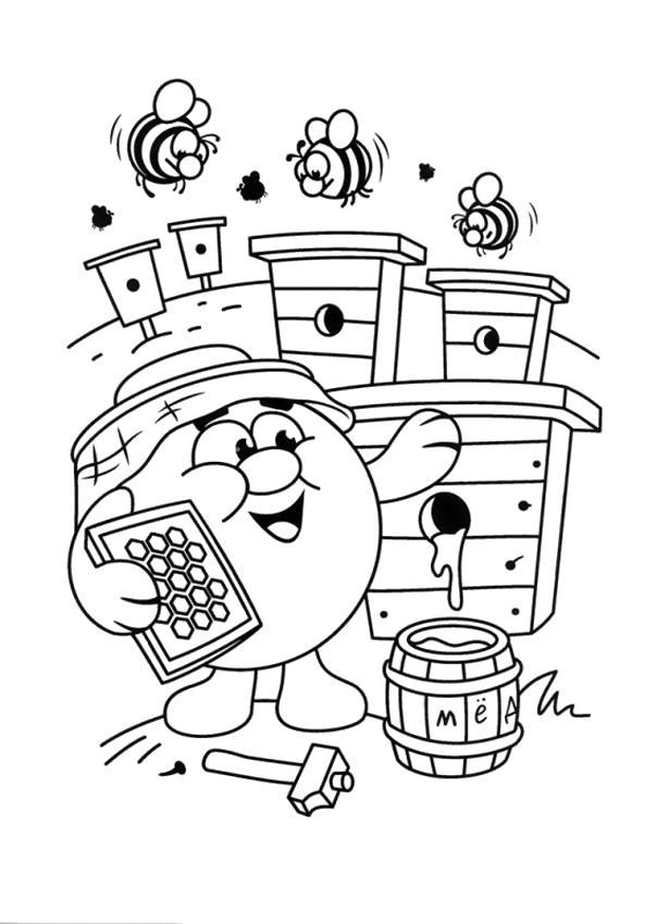 Раскраска  смешарики копатыч и пчелы. Скачать Копатыч.  Распечатать Смешарики