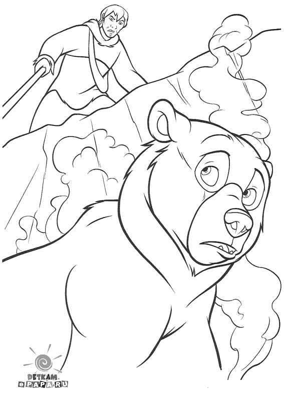 Раскраска Охота на медведей  Братец медвежонок. Скачать Братец медвежонок.  Распечатать Братец медвежонок