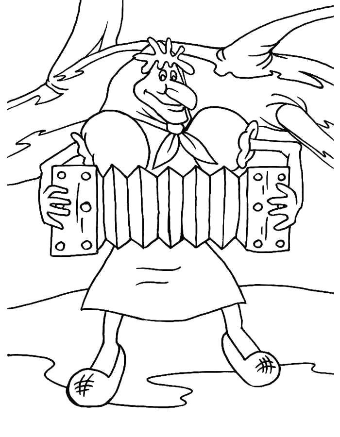 Раскраска  Баба Яга . Скачать .  Распечатать