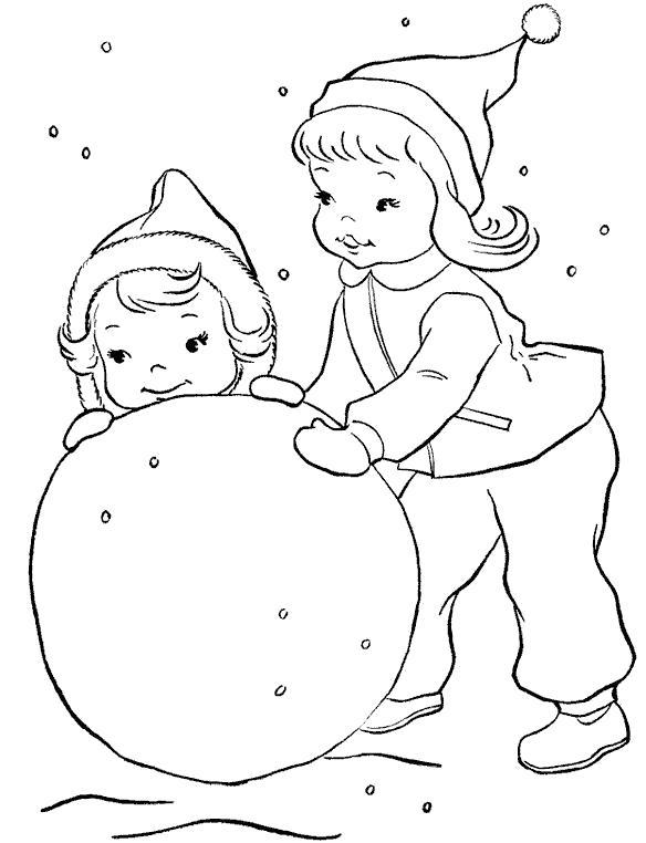 Раскраска дети лепят снеговика. Скачать снег.  Распечатать снег