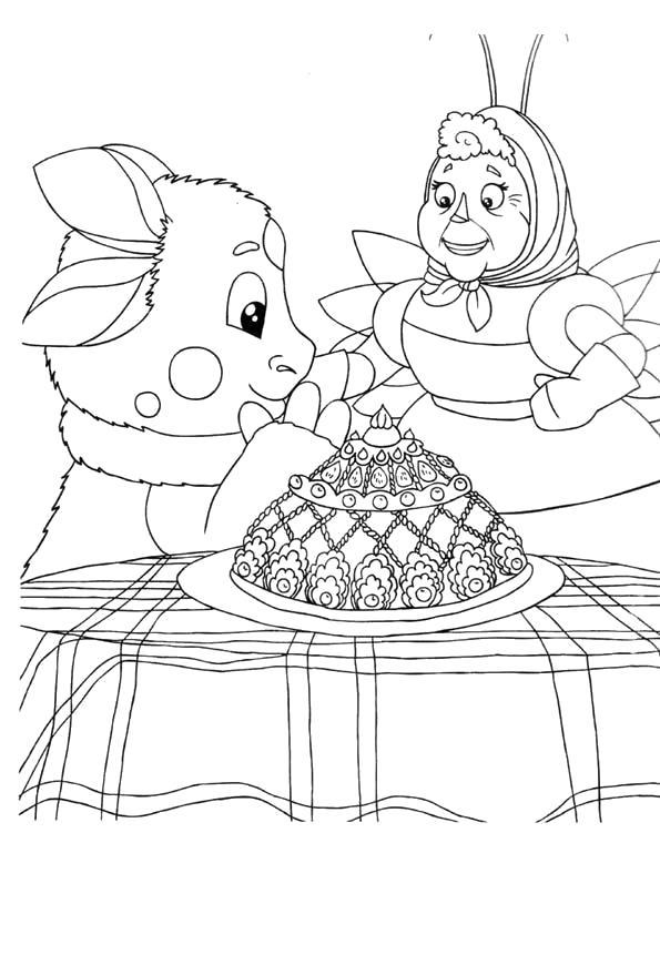 Раскраска Детская  Лунтик и его друзья. Скачать Лунтик, Баба Капа.  Распечатать Лунтик