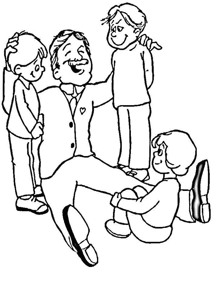 Раскраска дедушка с внуками. Скачать .  Распечатать