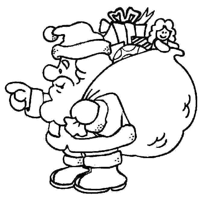 Раскраска Дед мороз  с огромным мешком подарков. Скачать Дед мороз.  Распечатать Новый год