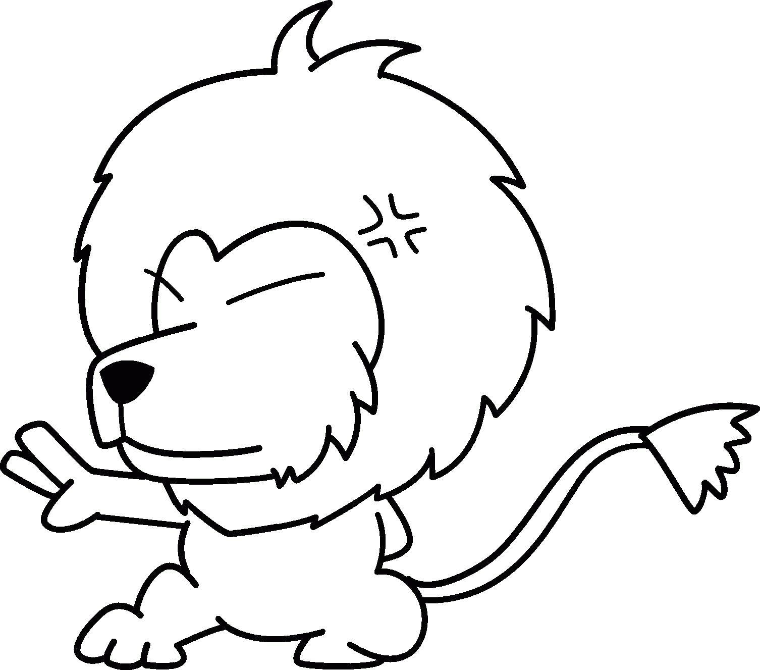 Раскраска Маленький львёнок. Скачать животных.  Распечатать животных