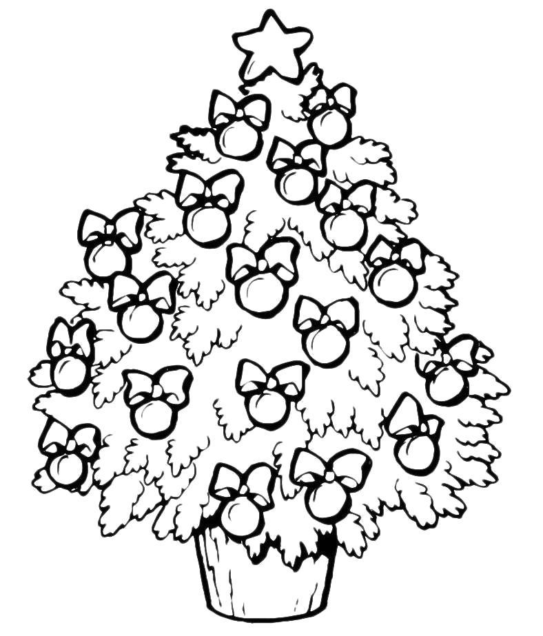 Раскраска Зимняя ёлка. Скачать Елка.  Распечатать Новый год