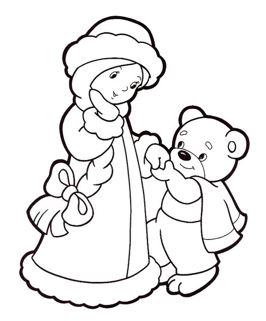 Раскраска Снегурочка в компании мишки. Скачать Снегурочка.  Распечатать Снегурочка