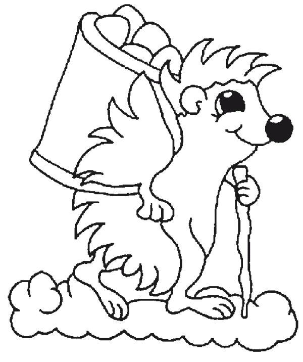 Раскраска Ежик собирает яблоки. Скачать Ежик.  Распечатать Дикие животные