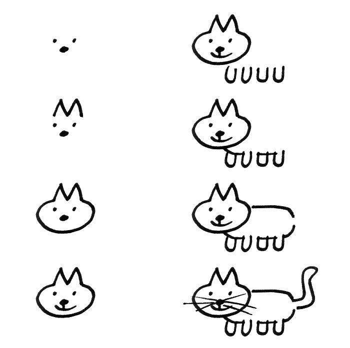 Раскраска Как нарисовать котенка поэтапно,. Скачать как нарисовать.  Распечатать Учимся рисовать