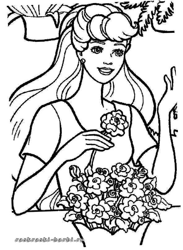 Раскраска девушка и цветы. Скачать .  Распечатать