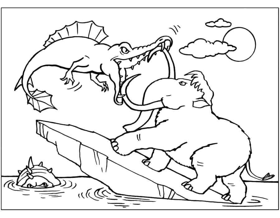 Раскраска Ледниковый период, Мэни борется с рыбами. Скачать .  Распечатать