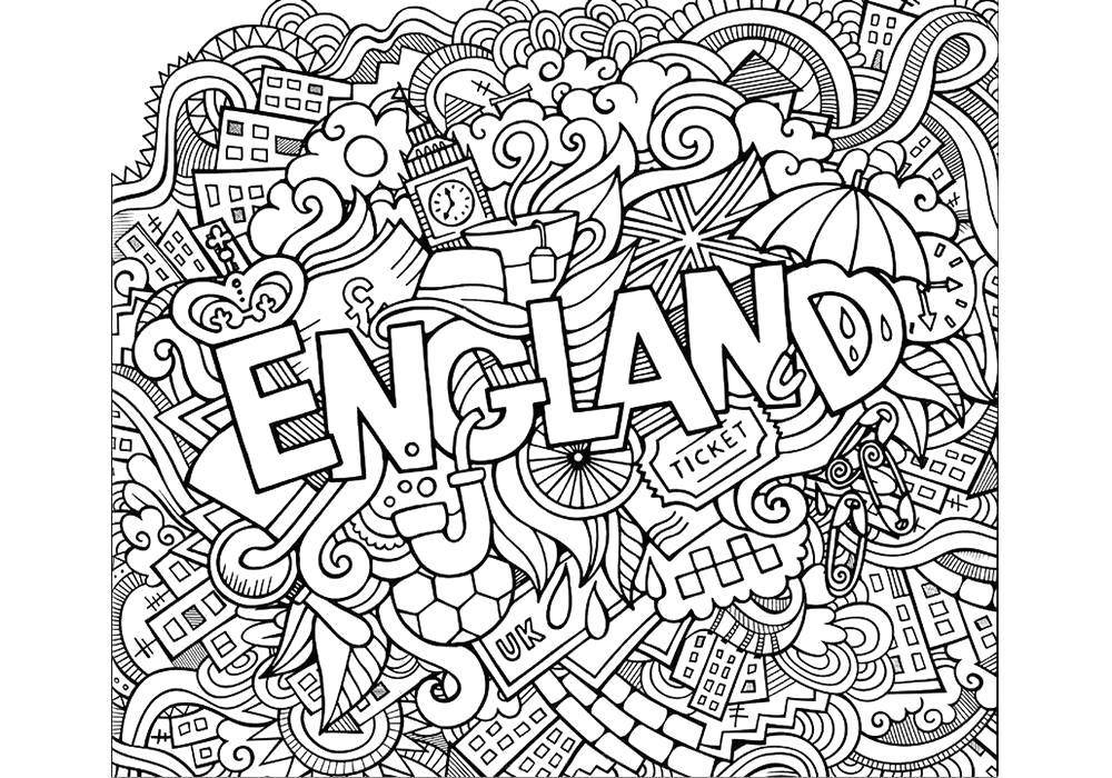 Раскраска  антистресс -Англия. Скачать антистресс.  Распечатать антистресс