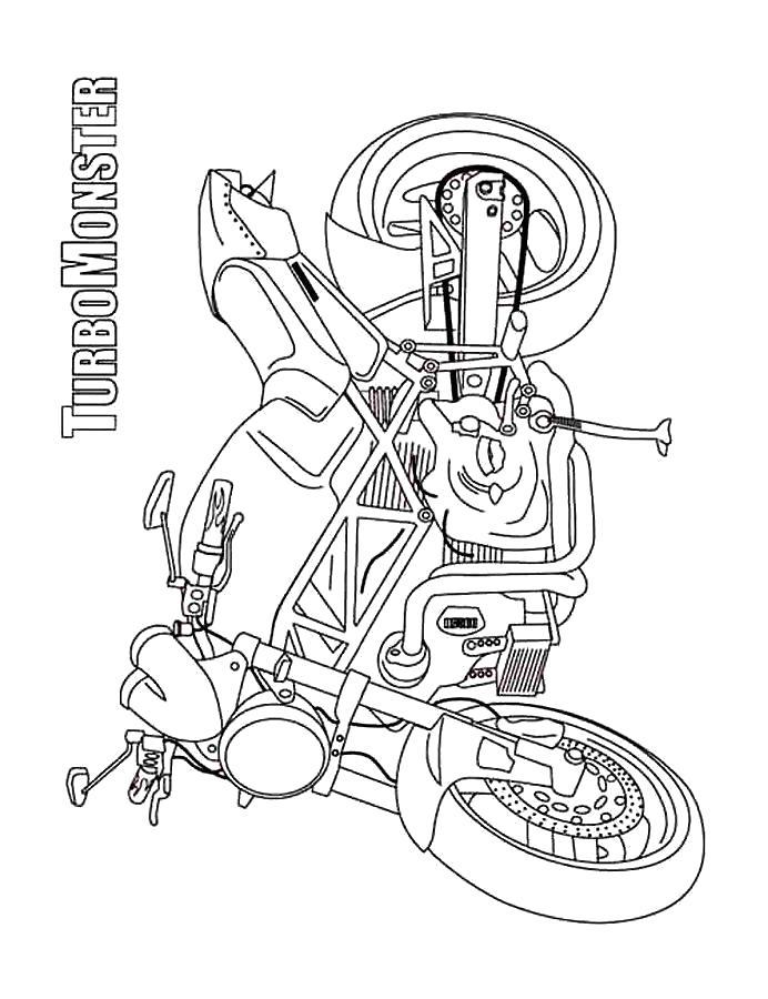 Раскраска Мотоцикл. Скачать Мотоцикл.  Распечатать Мотоцикл