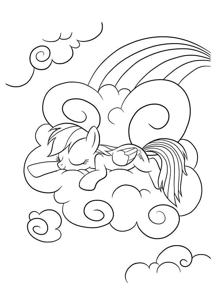 Раскраска Пони Радуга на облаках . Скачать Пони.  Распечатать Пони