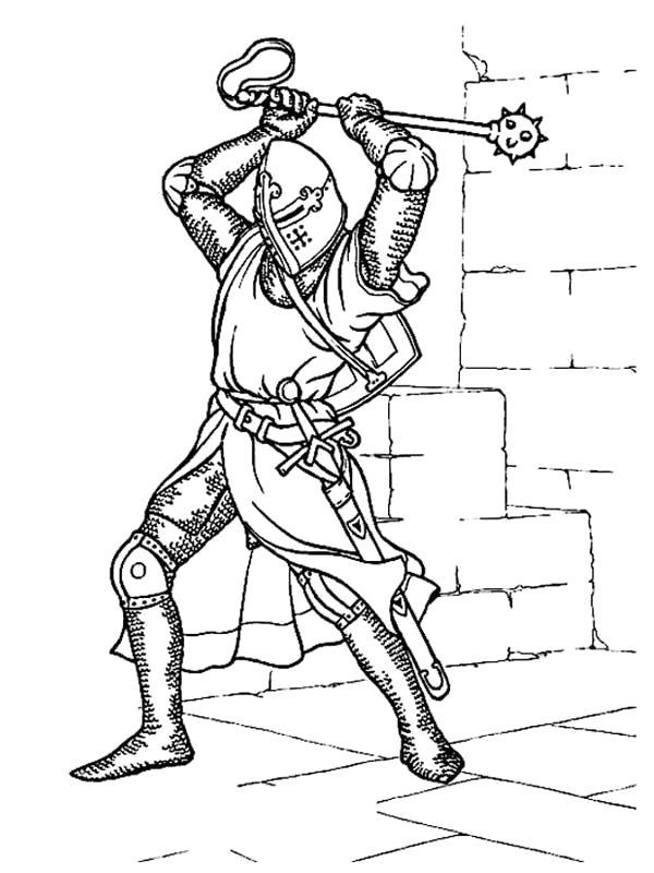 Раскраска Рыцарь с кувалдой. Скачать Рыцарь.  Распечатать Рыцарь
