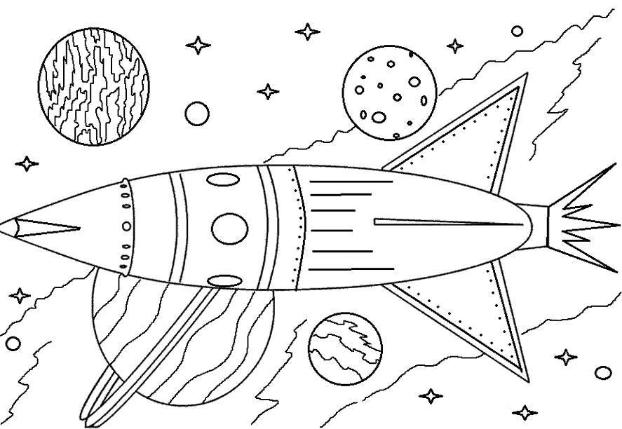 Раскраска Ракета летит в космосе. Скачать .  Распечатать