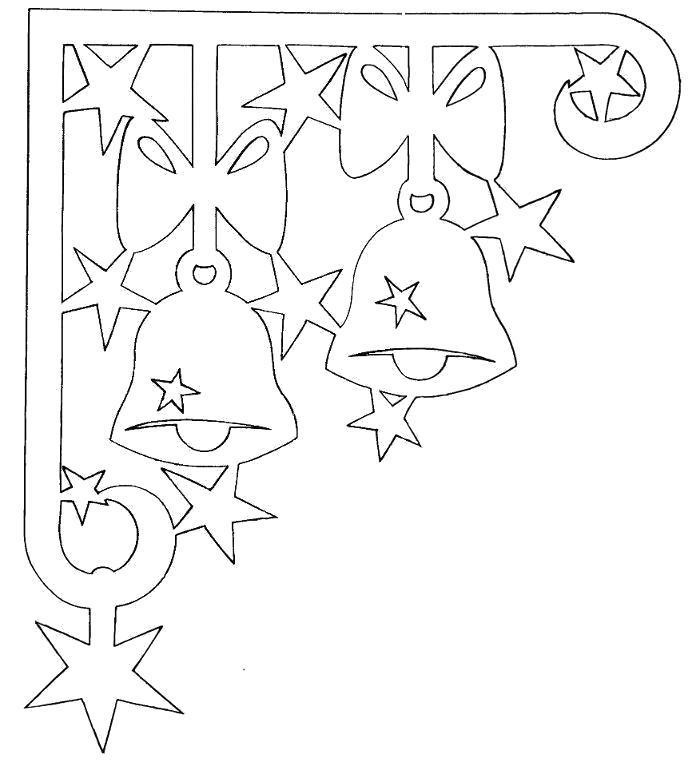 Раскраска шаблон колокльчика на новогоднее окно. Скачать Шаблон.  Распечатать Шаблон