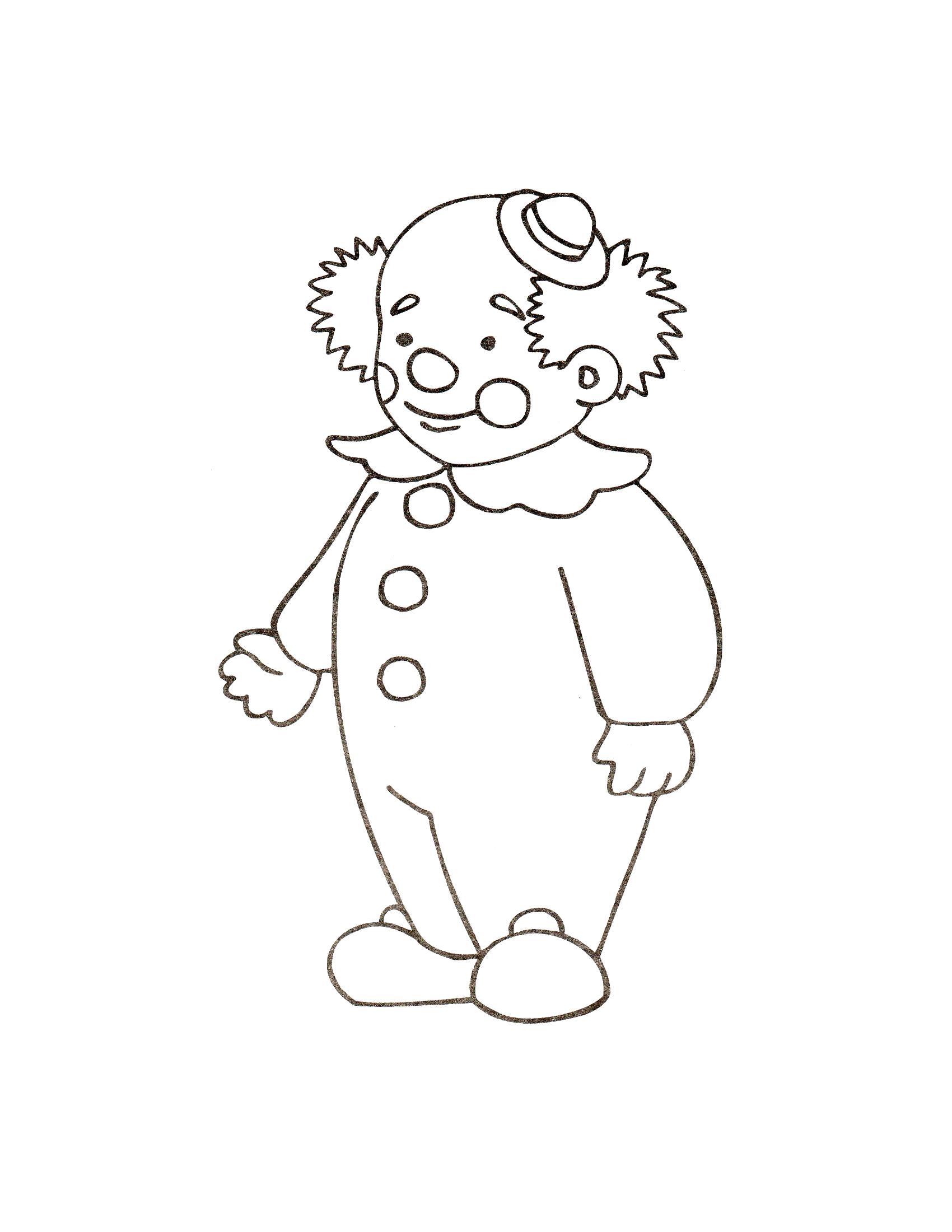 Раскраска Клоун в комбинезончике. Скачать клоун.  Распечатать клоун