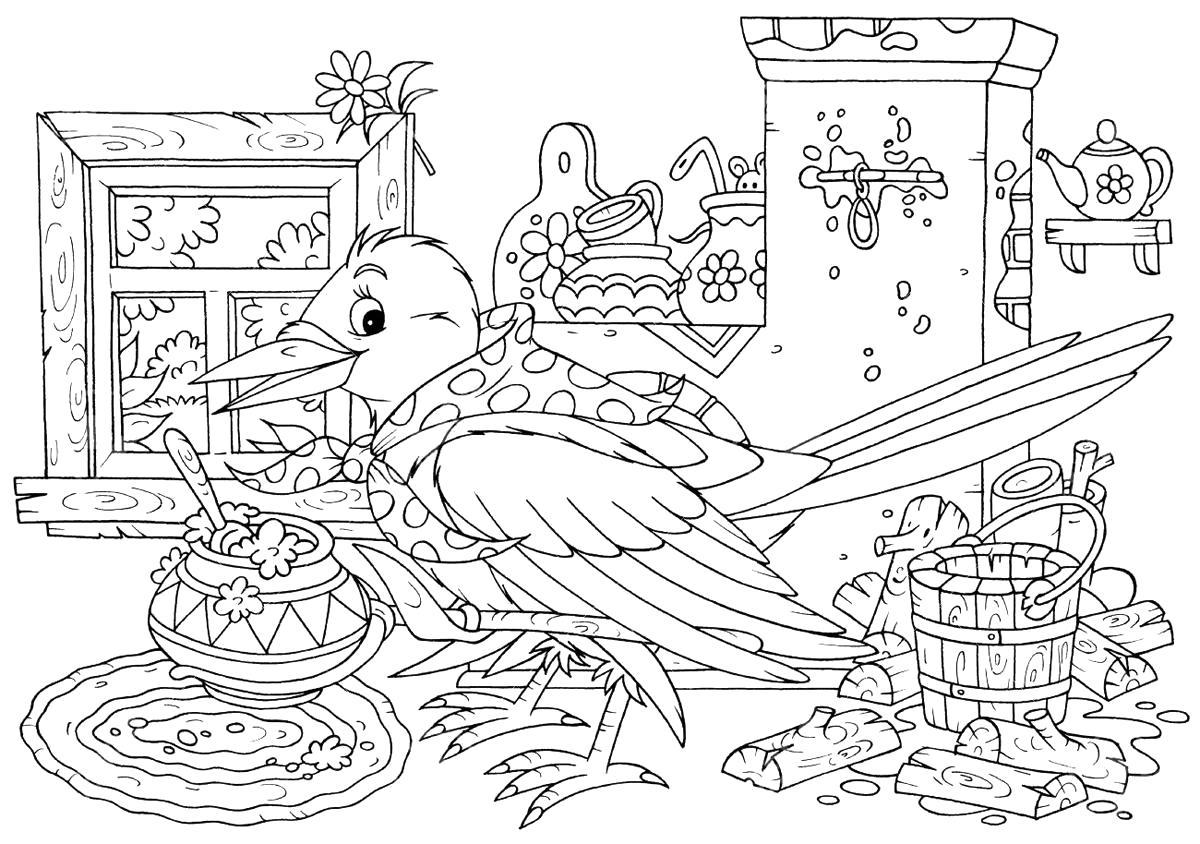 Раскраска Птицы.  для детей, сорока. Скачать Сорока.  Распечатать Сорока