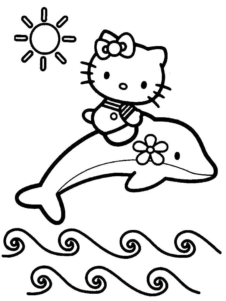 Раскраска Китти на дельфинчике. Скачать .  Распечатать