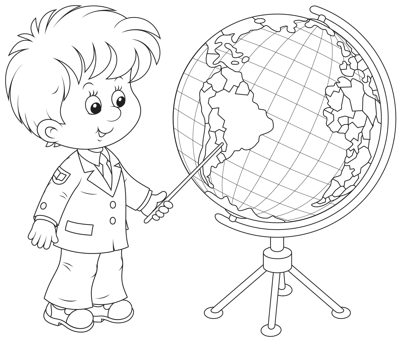 Раскраска Мальчик на глобусе показывает Южную Америка. Скачать 1 сентября.  Распечатать 1 сентября