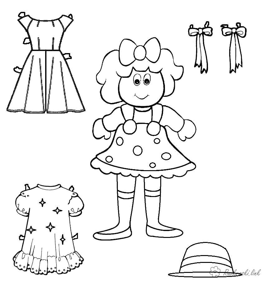 Раскраска  кукла одежда, кукла, раскрасить. Скачать кукла.  Распечатать кукла