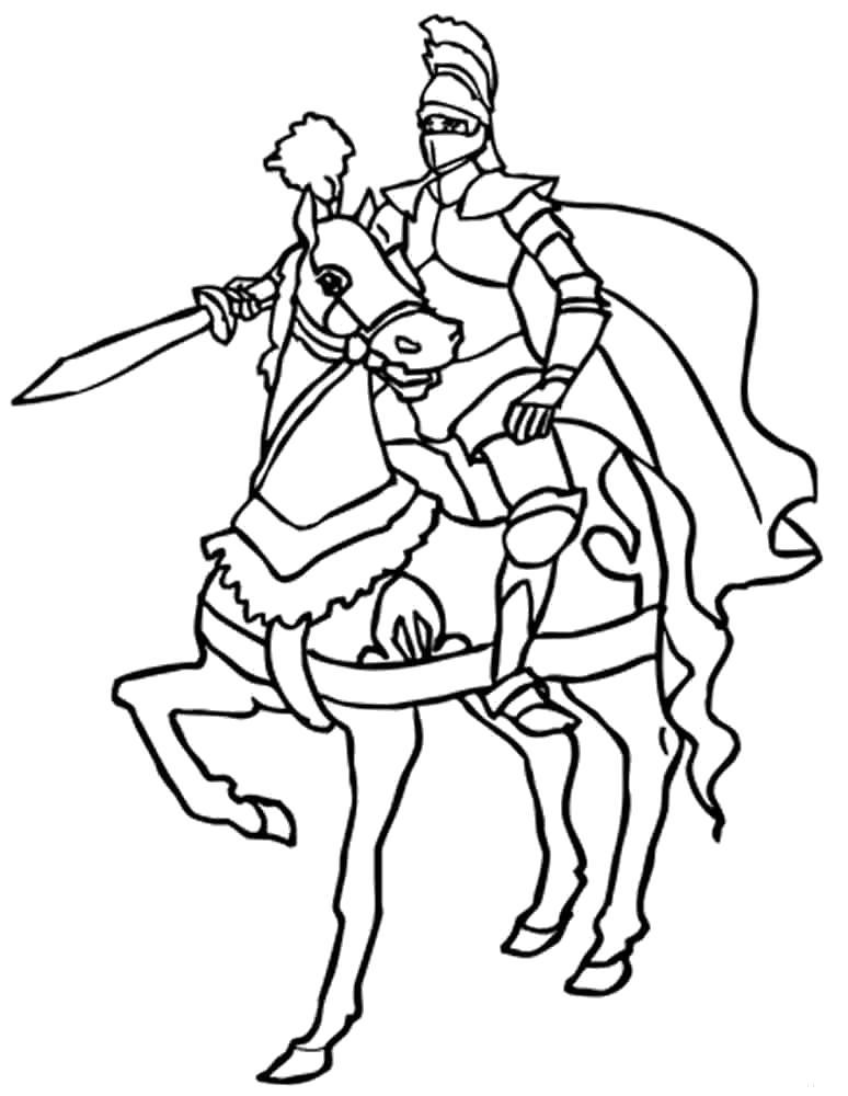 Раскраска Рыцарь на коне. Скачать рыцари.  Распечатать рыцари