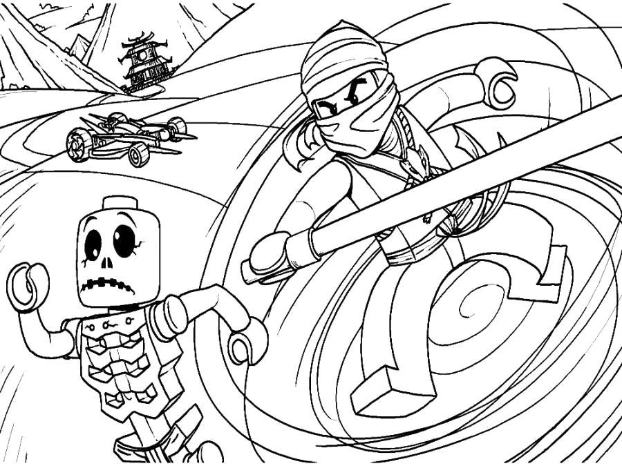 Раскраска Коул атакует скелета . Скачать .  Распечатать