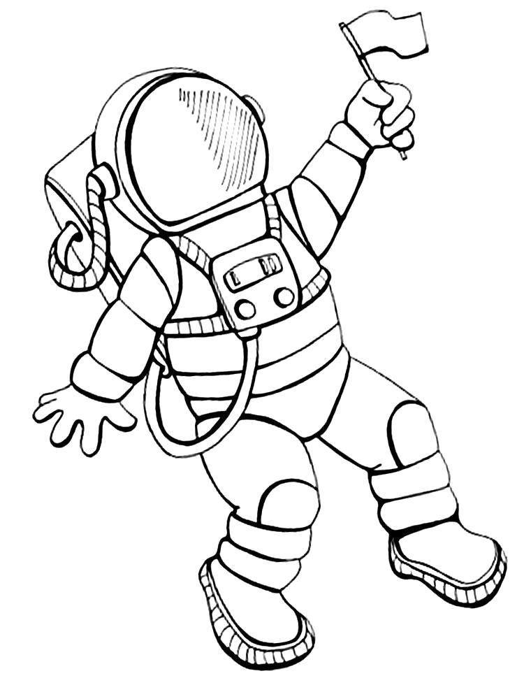 Раскраска Космонавт с флажком. Скачать день космонавтики.  Распечатать день космонавтики