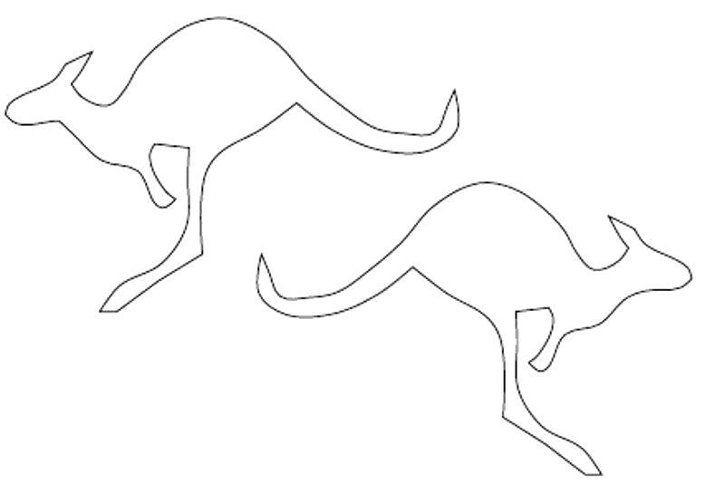 Раскраска  животные шаблоны кенгуру контур, животные  для вырезания из бумаги. Скачать Шаблон.  Распечатать Шаблон