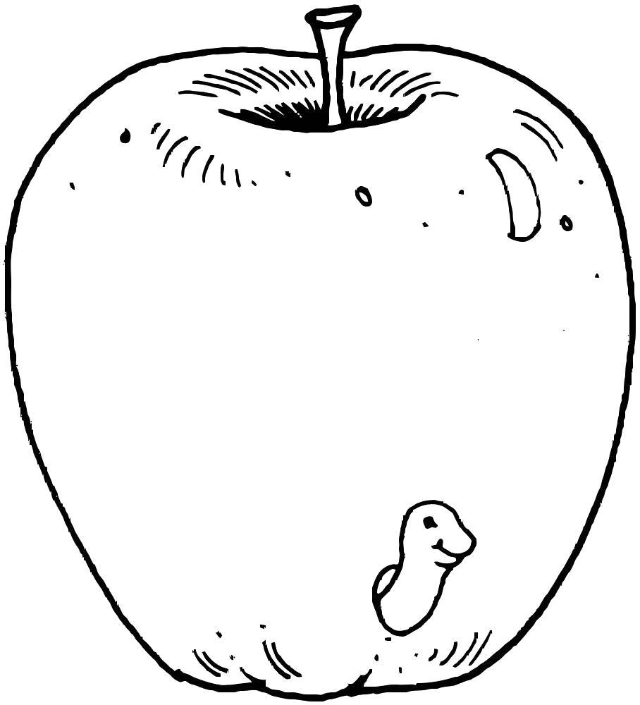 Раскраска большое яблоко. Скачать яблоко.  Распечатать Фрукты