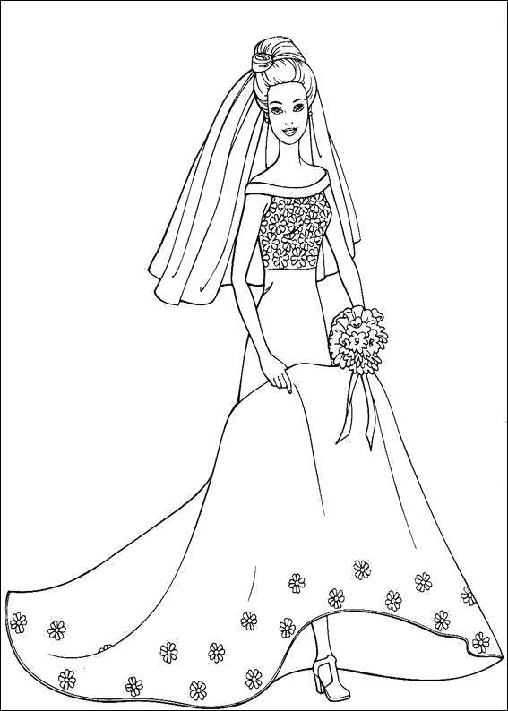 Раскраска  Барби - невеста. Скачать барби.  Распечатать барби