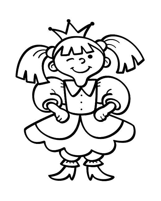 Раскраска Девочка принцесса. Скачать .  Распечатать