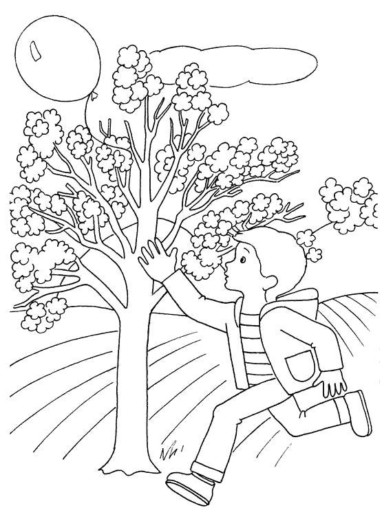 Раскраска мальчик бежит за шариком, мальчик и воздушный шар, шар летит, ветер уносит шар, . Скачать Весна.  Распечатать Весна