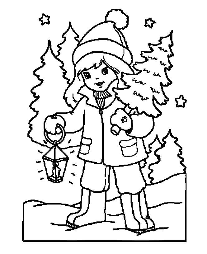 Раскраска Новогодняя елка. . Девочка несет домой елку.. Скачать Елка.  Распечатать Новый год