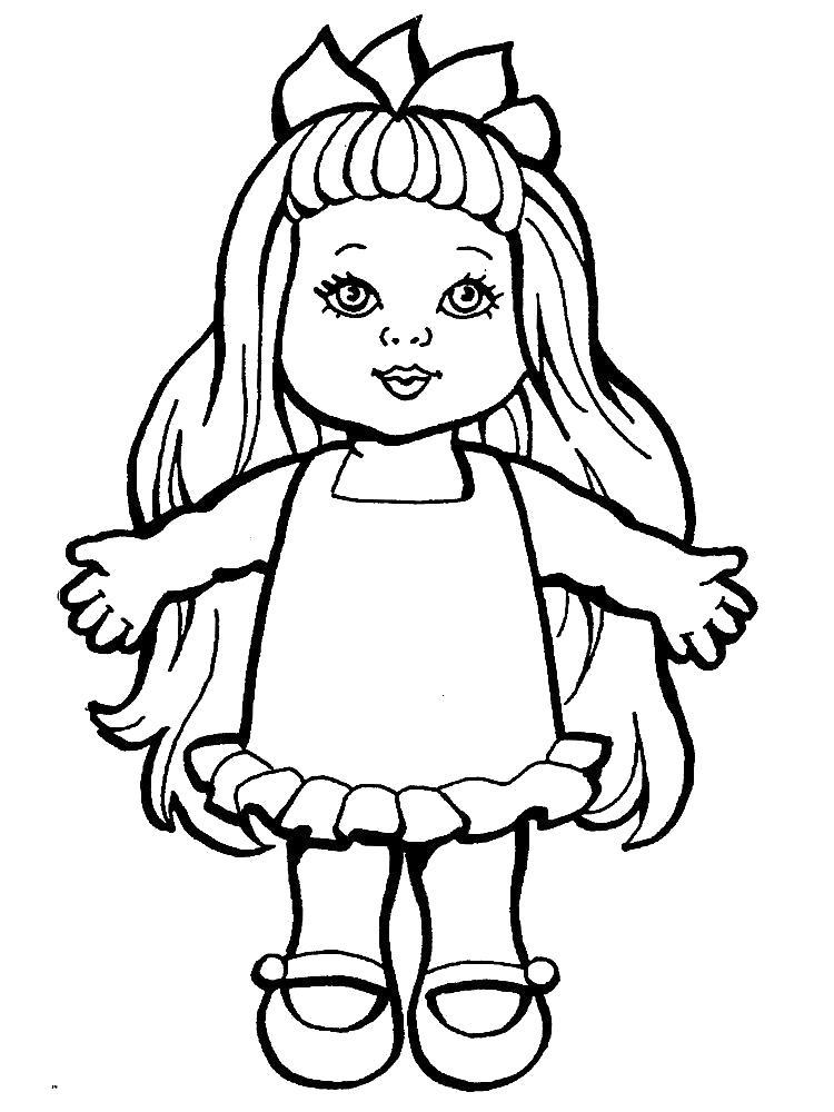 Раскраска Красивая куколка. Скачать .  Распечатать