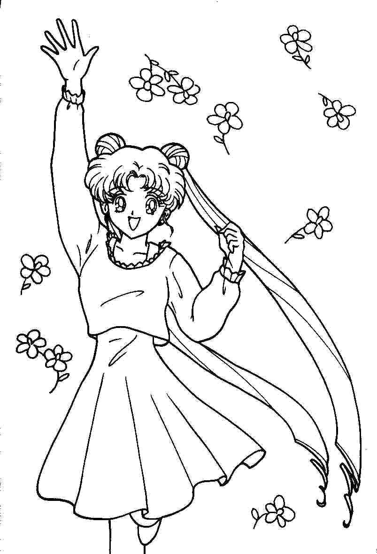 Название: Раскраска Сейлормун и цветочки. Категория: Сейлормун. Теги: Сейлормун.