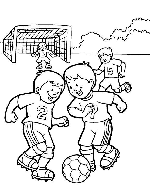 Раскраска ребята играют в футбол. Скачать Футбол.  Распечатать Футбол