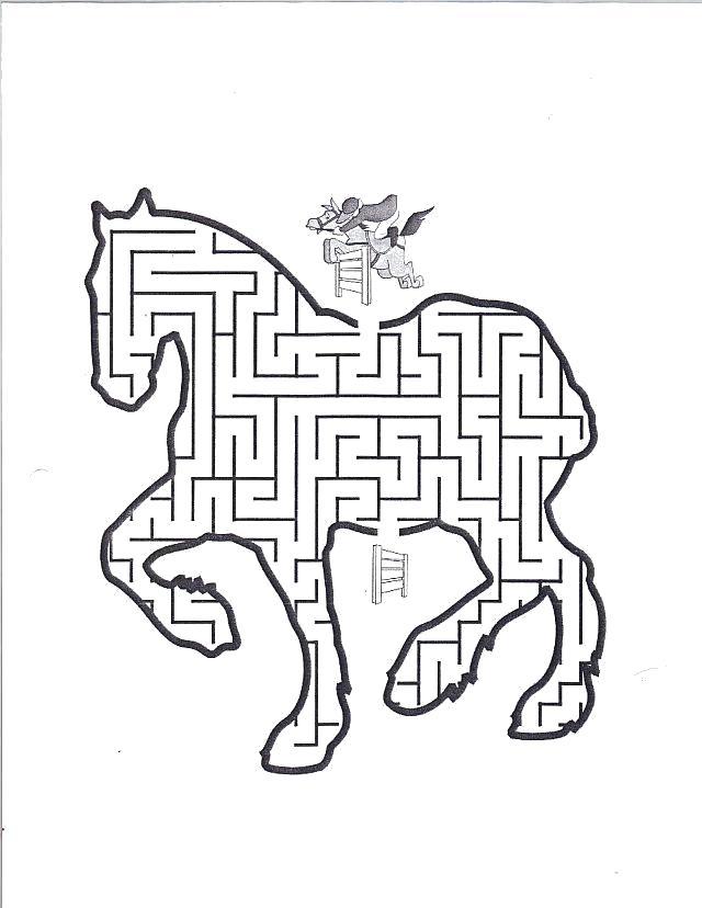 Раскраска лабиринт, лошадь. Скачать лабиринт.  Распечатать лабиринт