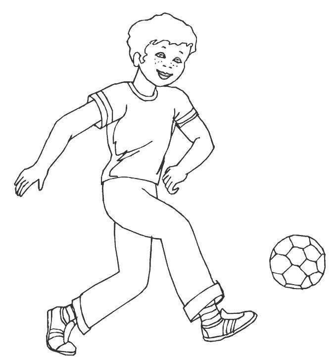 Раскраска  Футбол футбол, мальчик, играет, спорт. Скачать Футбол.  Распечатать Футбол