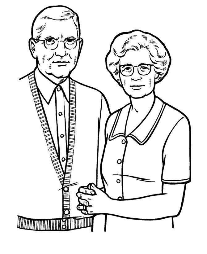 Раскраска Бабушка и дедушка. Скачать .  Распечатать