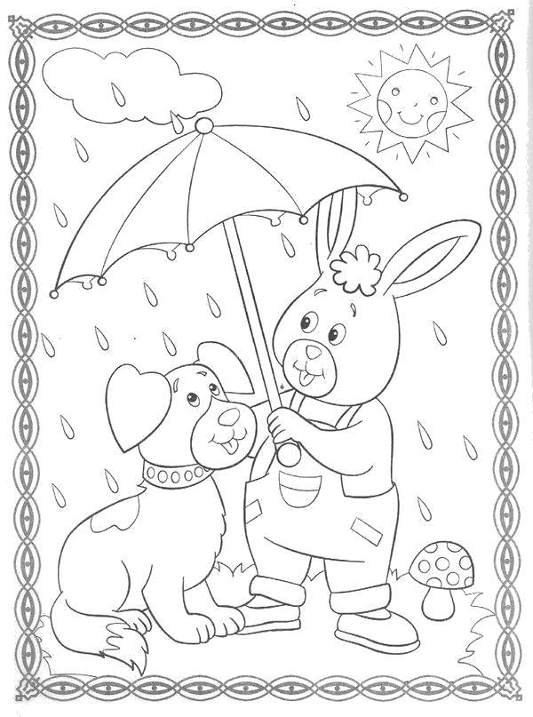 Раскраска Пес и заяц под зонтом. Скачать .  Распечатать